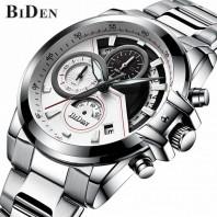 BIDEN brand mens business wristwatches stainless steel quartz man watches