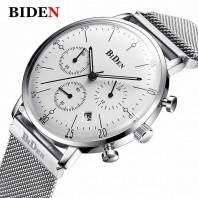 Men's Sub-dials Stainless Steel Band Quartz Wristwatch for Men-3106