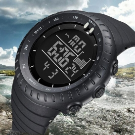 Digital Sports Watch Water Resistant Outdoor Easy Read Military Back Light Black Big Face Men's (Black) 3313