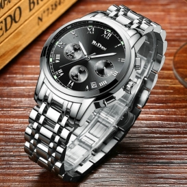 BIDEN Mens Fashion Sport Quartz Clock Man Watches Full Stainless Steel multifuncition Chronograph Wristwatch Date-3134