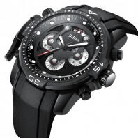 BIDEN sports mens wristwatches silicone quartz Multifunction man watches waterproof calendar luxury male clocks black-3211