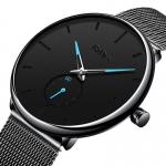Biden Ultra Thin Casual Style Men Wrist Watch Mesh Stainless Steel Strap Quartz Watches-3086