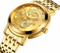 BIDEN Unique Gold Dragon Dial Men Golden Watch 3D Dragon Fashion Male Quartz Wristwatch Top Luxury Stylish Business Dress Clock-3206