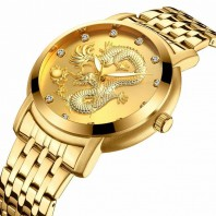 BIDEN Unique Gold Dragon Dial Men Golden Watch 3D Dragon Fashion Male Quartz Wristwatch Top Luxury Stylish Business Dress Clock-3206