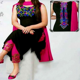Black and Pink Soft Georgette Unstitched Salwar Kameez for Women-4633