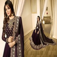Black Georgette Embroidered Semi Stitched Anarkali Salwar Suit With Dupatta-1935