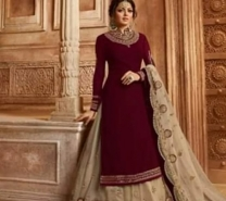 Black Georgette Embroidery Semi Stitched Party Wear - Bridal suits Dress for Women-1931