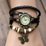 Black Leather Watch for Girls And Ladies-3359
