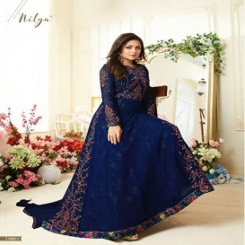 Blue Faux Georgett With Embroidery work With Stone Salwar Suit-4631