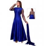 blue un-stitched chosa silk with embroidery salwar suit-4638