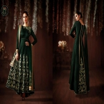 Bottle Green Raw Silk Long Anarkali Salwar Suit-4642