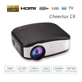 CHEERLUX C6 Mini LED 1200 Lumens Home Theater multimedia Projector-2128