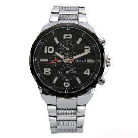 CURREN Original Brand Mens 3 dials style Sports Stainless steel band quartz Wrist Watch High Quality -3155