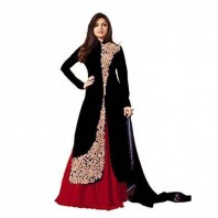 Designer Black And Red Banglori Silk Embroidery Work Indo-western Suit-4650