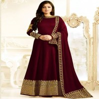 Madhubala as Drashti Dhami Designer Maroon Mulborne Silk Salwar Kameez-dr103