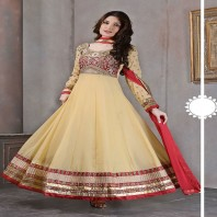 Beige embroidered georgette semi-stitched salwar with dupatta semi stitched-dr105