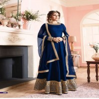 Royal Blue Floor Length Anarkali Dress-dr112