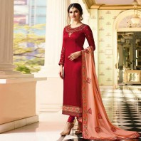 Ravishing Red Colored Embroidered Work Party Wear Georgette Salwar Suit-dr115
