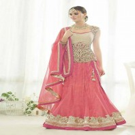 Net Semi Stitched Designer Lehenga Choli In Pink Colour-dr123