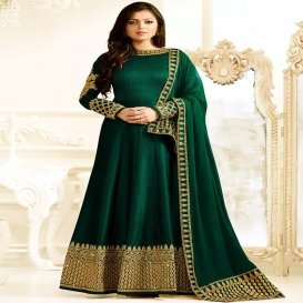 Drashti Dhami bottle green color silk party wear anarkali kameez-dr125