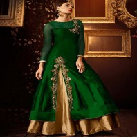 Vellora Bottle Green & Golden Brown Designer Suit-dr129
