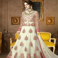 White Zari Work Net Floor Length Anarkali Suit-dr133