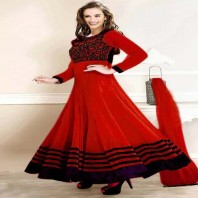 Red Chili Embroidery Neck Work Anarkali Suit-dr134