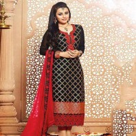 Black Unstitched Georgette Salwar kameez For Women-dr135