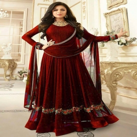 ETHNIC YARD Georgette Printed Dress Material - Maroon-dr137