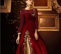 Blood Red Lehenga Style Designer Ladies Suits Online-dr139