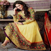 Indian Embroidered Chiffon Frock-dr142