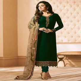 Drashti Dhami Dark Green Georgette Straight Suit-dr144