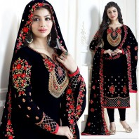 Ayesha Takia Straight Cut Salwar Suits Black