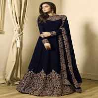 Embroidered Georgette Abaya Style Suit in Navy Blue-dr98