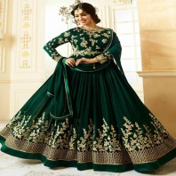 Pine Green Colour Georgette Wedding Anarkali Suit-dr99