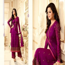 Drashti Dhami Georgette Purple Fancy Palazzo Dress-4654