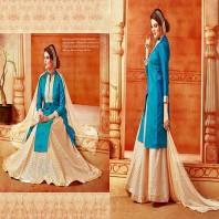 Elegant Blue and Cream Banarasi Silk Indo Western Suits-4624