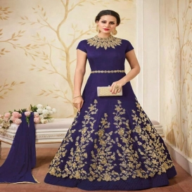 Embroidered Poly Silk Ball Gown-4658