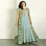 Zeros Bangladesh Light Pest Georgette Embroidered Unstitched Dress with Long Koti -4637