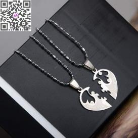 Fashion 1 Pair Titanium Steel Heart Shape Pendant Necklaces Men Women Couple Lover I Love You Necklace Jewelry Gifts-jw5024