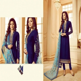 Georgette Embroidery Dress Blue-4610