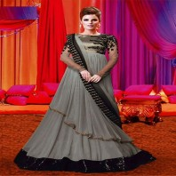 Grey Color Designer Full Length Gown Style Anarkali Suit-4630