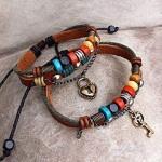 Handmade Leather Weave Lovers Bracelets-jw5019