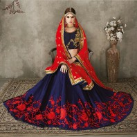 Unstitched Navy Blue and Red Embroidery Georgette Lehenga For Women-4602