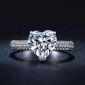 JEXXI Anillo Elegant Clear Crystal Heart Pendant Ring for Women-jw101