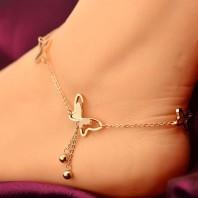 GirlZ! Rose Gold Titanium Steel Chain Butterfly Tassel Women Barefoot Sandals Anklet -jw5010