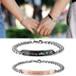 His Queen Her King Stainless Steel matching couple bracelets (2pcs)-jw5020