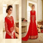 Ladies Full Sleeves Designer Embroidered Indo Western Gown-4655