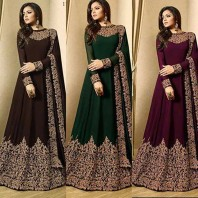 Latest Fancy Party Wear Faux Georgette Embroidered Anarkali Salwar Suit Gown - Style Bold Brown Anarkali Suit-1920