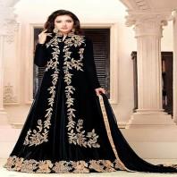 black Georgette with Indo Western Stylish Sangeet wear Salwar Suit-4604